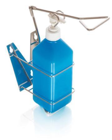 Vägghållare/-dispenser för handsprit och tvål med armmanövrering