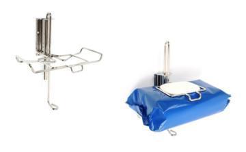 Vägghållare för våtservetter och wipes förpackade i softpack