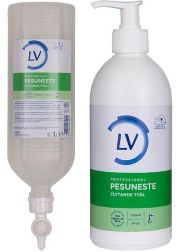 LV Flytande tvål i 500 ml pumpflaska och 1 liters dispenser