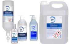 LV preoperativ handdesinfektion i 600 ml pumpflaska, 5 l kanister, liten flaska 100 ml och dispenser 1 liter