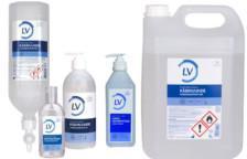 LV preoperativ handdesinfektion i 600 ml pumpflaska, 5 l kanister, liten flaska 100 ml och dispenser 1 liter
