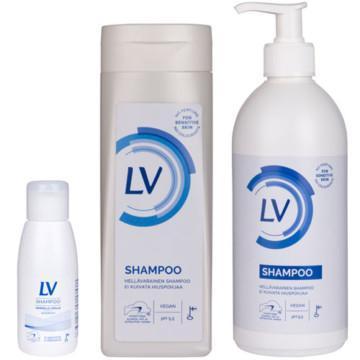 Milt LV Schampo för känsligt hårbotten i 60 ml och 250 ml flaska samt 500 ml pumpflaska